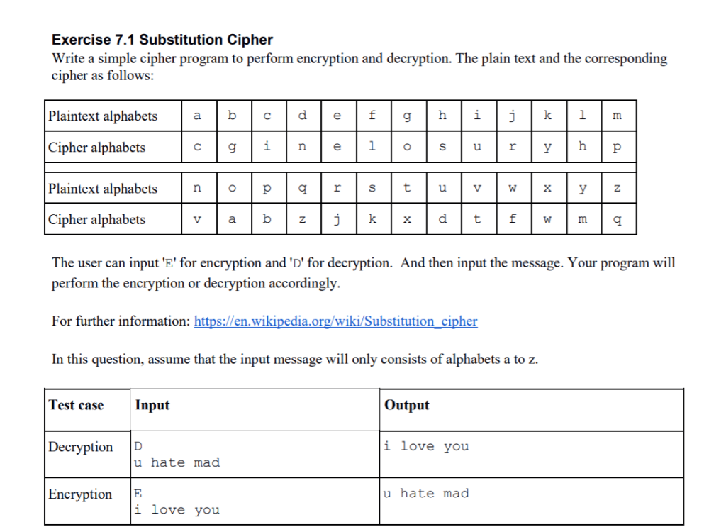 Solved: Exercise 7 1 Substitution Cipher Write A Simple Ci