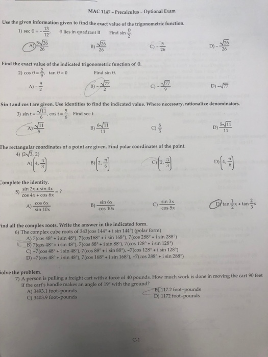 Solved: MAC 1147- Precalculus Optional Exam Use The Given