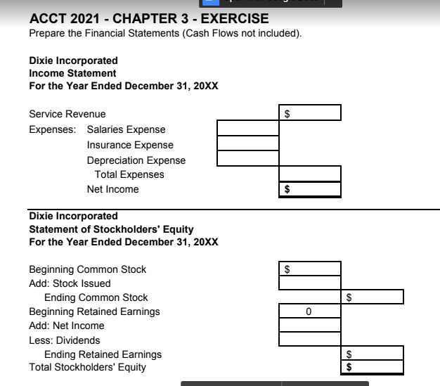 Solved Acct 2021 Chapter 3 Exercise Instructions A Use
