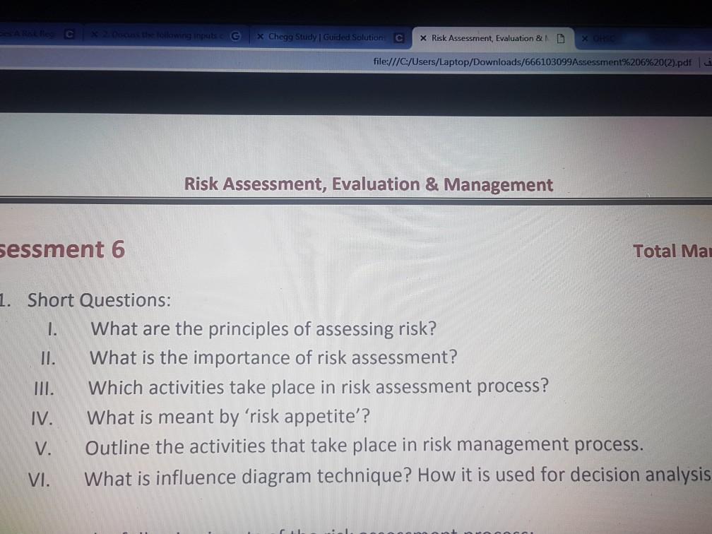 Solved: CT Χ Che。 Study GuidedSolution 0 Χ Risk Assessmen