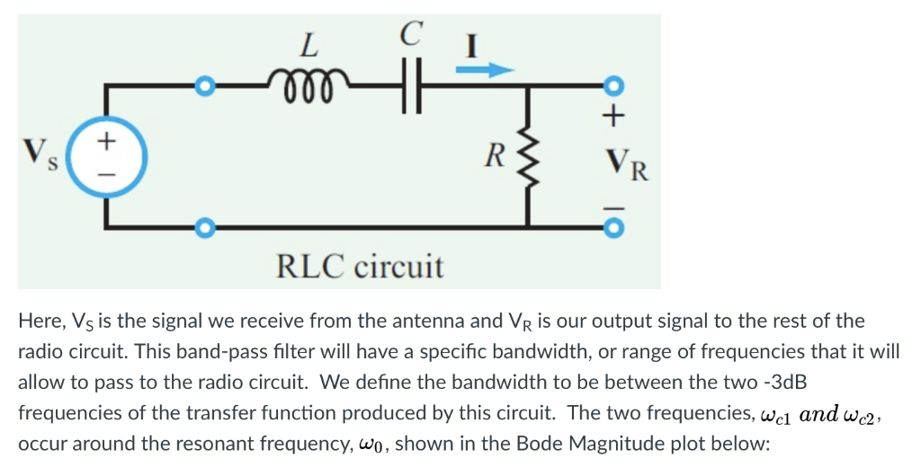 l c 300 rlc circuit here, vs is the signal we receive from the antenna  and