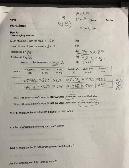 Solved: Name Worksheet Part A: 91.219class Secion 9-8) Two ...