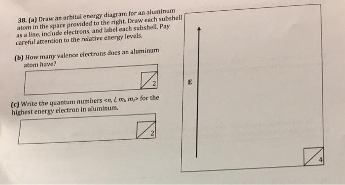 Solved Draw An Orbital Energy Diagram For An Aluminum Ato