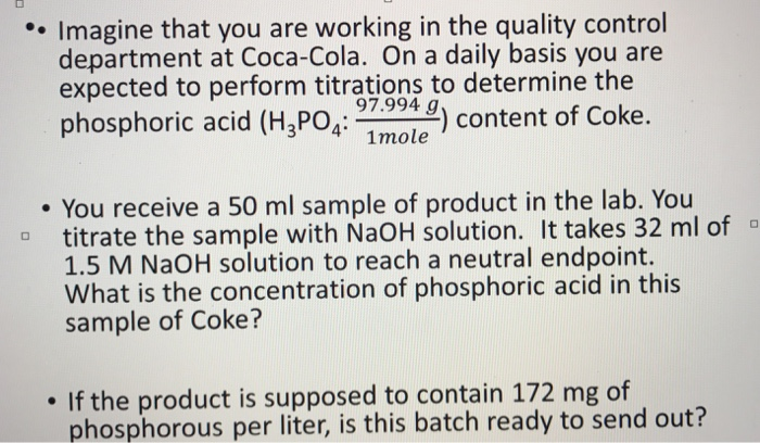 concentration of phosphoric acid in coke