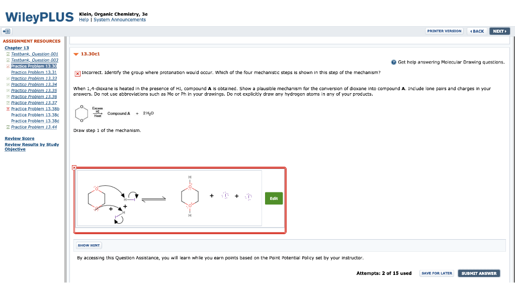 Solved: Klein, Organic Chemistry, 3e Help System PRINTER V