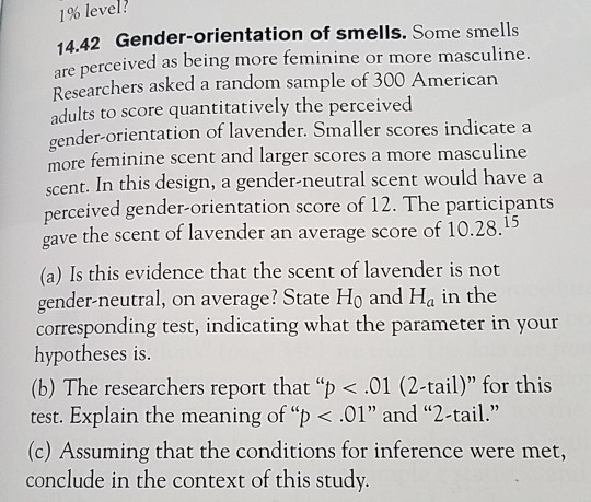 Solved: 1% Level? 14 42 Gender-orientation Of Smells  Some
