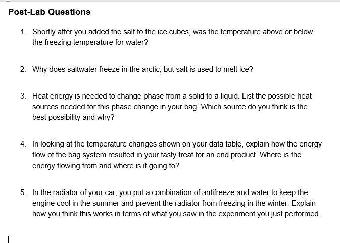 Experiment 3: Chemistry Of Ice Cream Data Sheet Ta