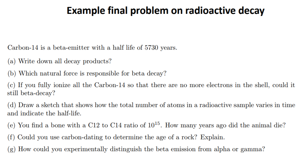 radioactive dating questions