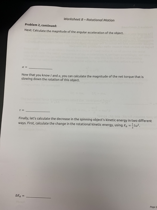 Solved: Worksheet 8-Rotational Motion For A Collection Of ...