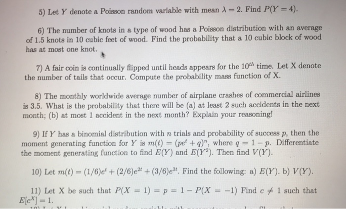 Solved 5 Let Y Denote A Poisson Random Variable With Mea
