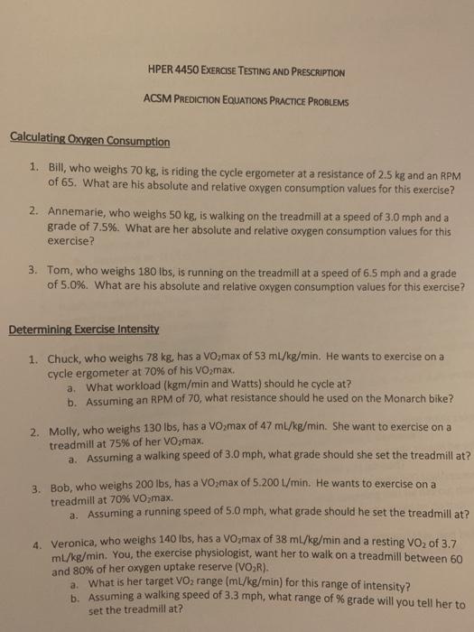 Solved: HPER 4450 EXERCISE TESTING AND PRESCRIPTION ACSM P