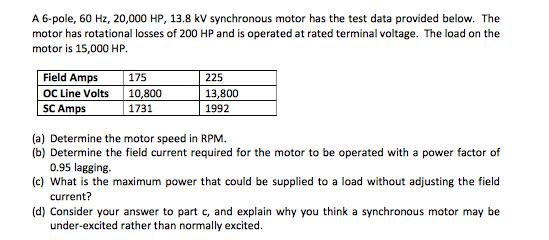 A 6-pole, 60 Hz, 20,000 HP, 13.8 kV synchronous motor has