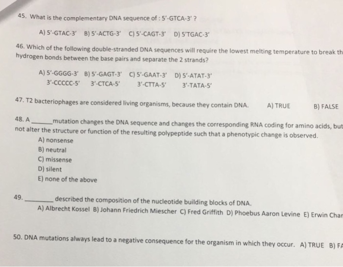 Solved: 45  What Is The Complementary DNA Sequence Of : 5