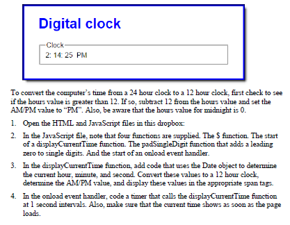 Solved: Extra 13-1 Develop The Clock Application HTML Code