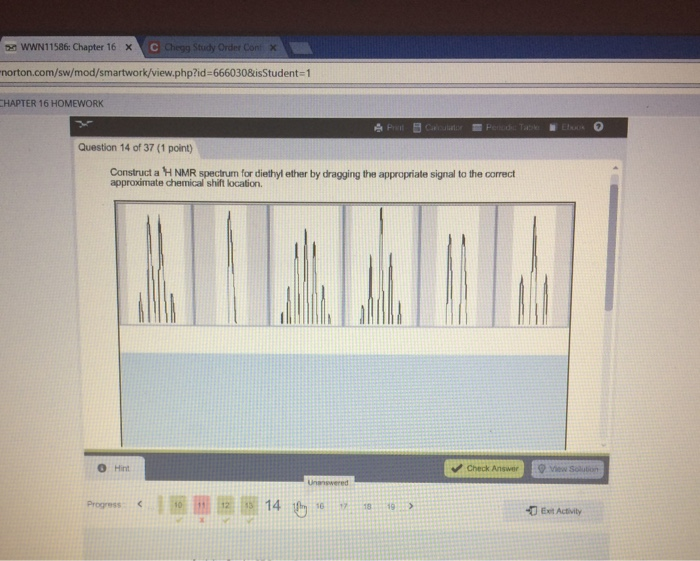 Solved Construct A 1 H Nmr Spectrum For Diethyl Ether By