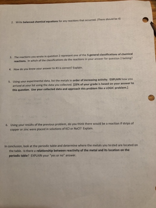 Solved: Name: Report Sheet Lab #15: Reactivity Of Metals P