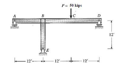 P = 50 kips 12 12, -12 ー12,