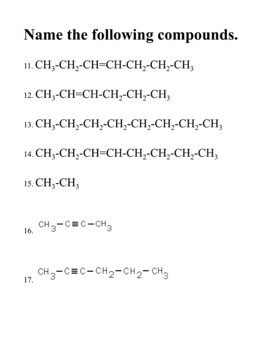 Solved Basic Organic Nomenclature Packet Nomenclature Wor Chegg Com