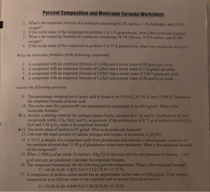 Solved: Percent Composition And Molecular Formula Workshee ...