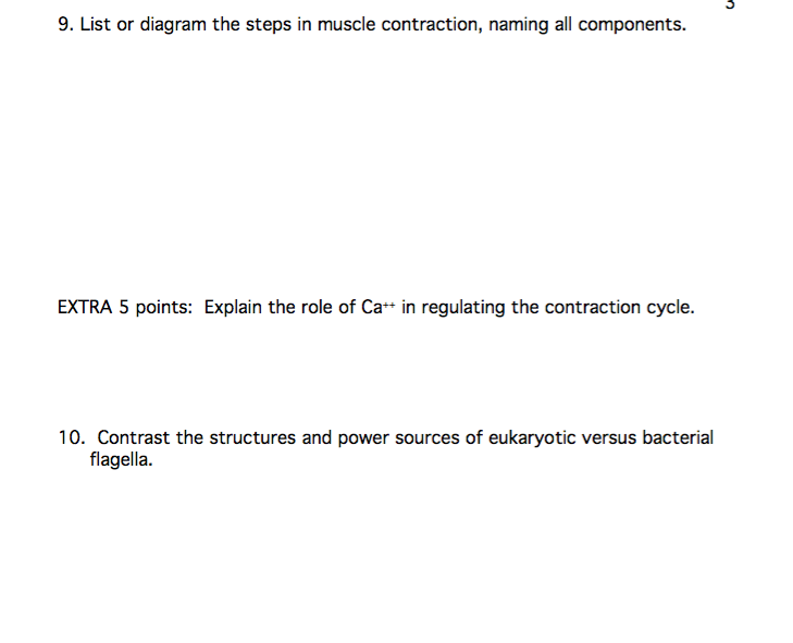Solved 9 List Or Diagram The Steps In Muscle Contraction