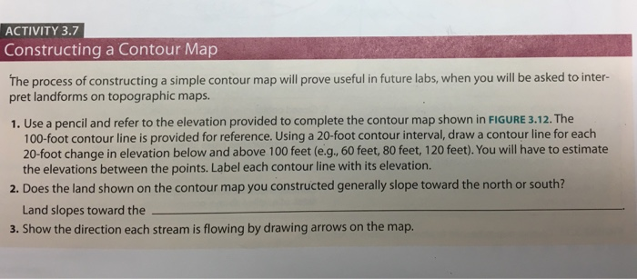 Solved Activity 3 7 Constructing A Contour Map The Proces