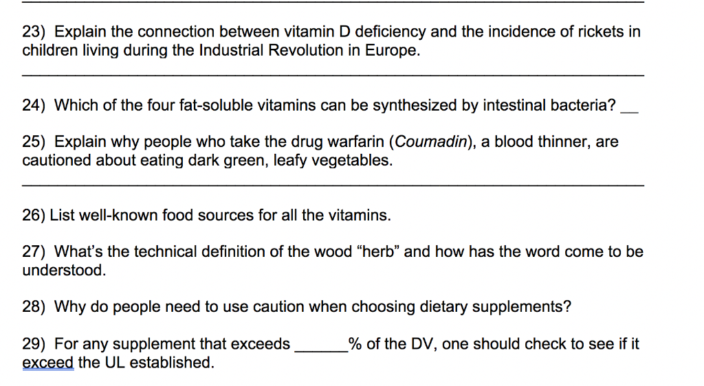 Solved: 23) Explain The Connection Between Vitamin D Defic