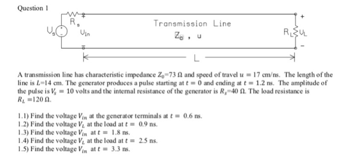 Solved: Question I Transmission Line Uin A Transmission Li