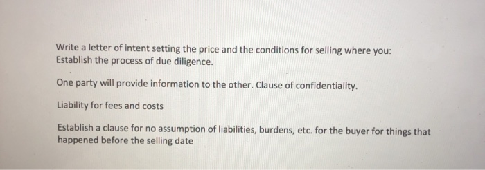 Solved Write A Letter Of Intent Setting The Price And The