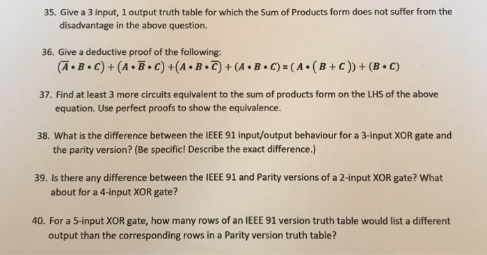 Solved 35 Give A 3 Input 1 Output Truth Table For Which
