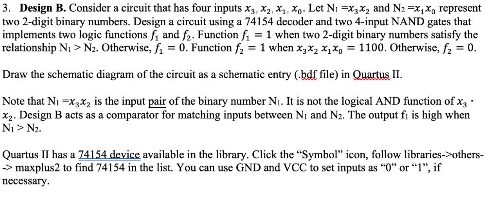 design b  consider a circuit that has four inputs x3, x2,