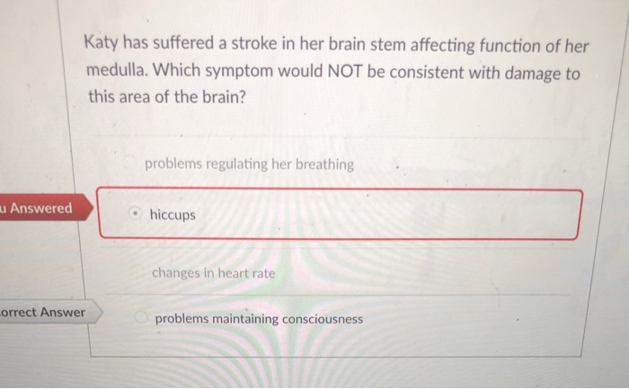 Solved: Katy Has Suffered A Stroke In Her Brain Stem Affec ...