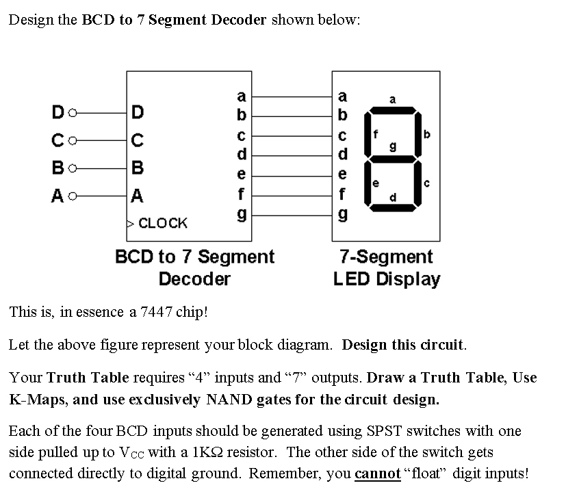 [DIAGRAM_4PO]  Solved: Design The BCD To 7 Segment Decoder Shown Below Co... | Chegg.com | 7 Segment Block Diagram |  | Chegg