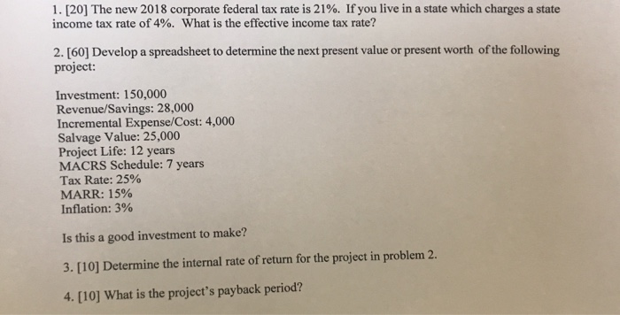 Solved: 1   [20] The New 2018 Corporate Federal Tax Rate I
