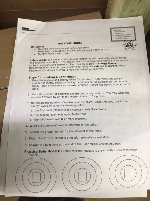 Solved The Bohr Model Objectives Describe The Structure A