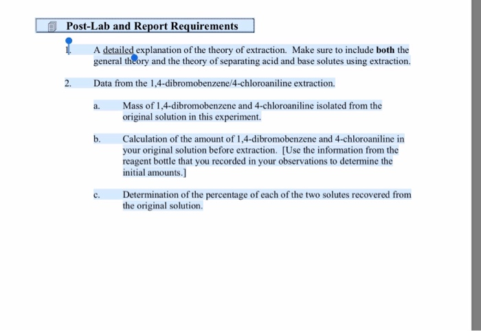 Solved Post Lab And Report Requirements Explanation Of Th Chegg Com