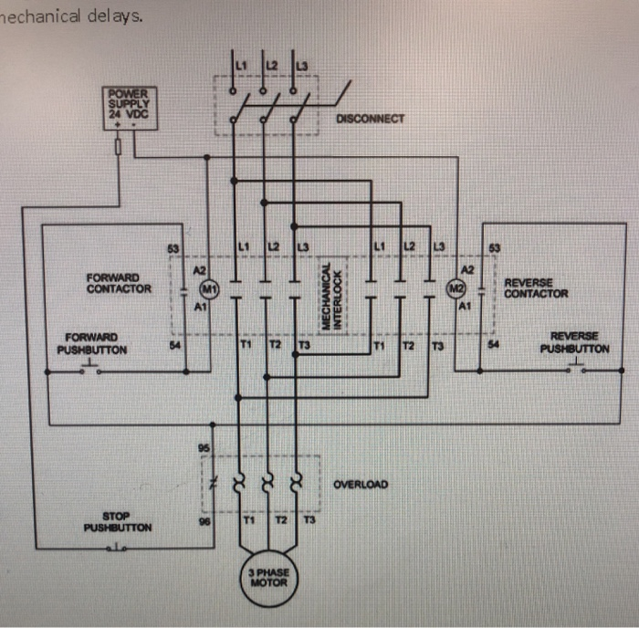 electrical wiring diagram forward reverse motor control and power solved given the attached schematic for a reversing hardw  solved given the attached schematic