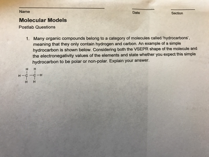 Solved: Name Date Section Molecular Models Postlab Questio