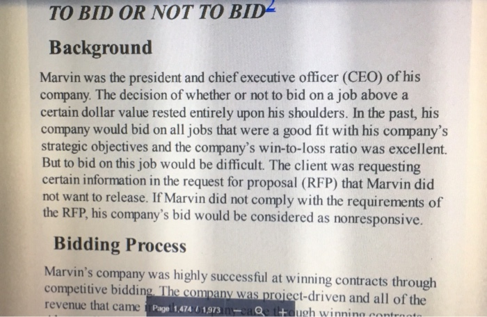 solved to bid or not to bid background marvin was the pre
