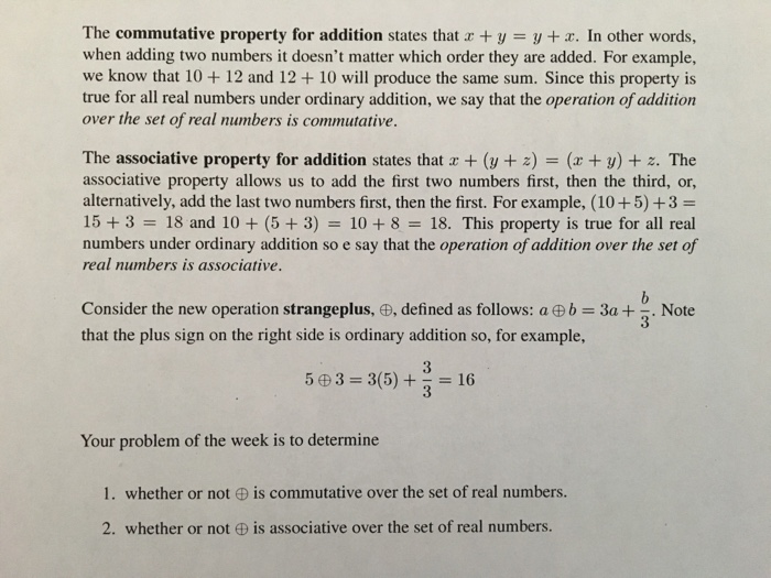 Solved The Commutative Property For Addition States That