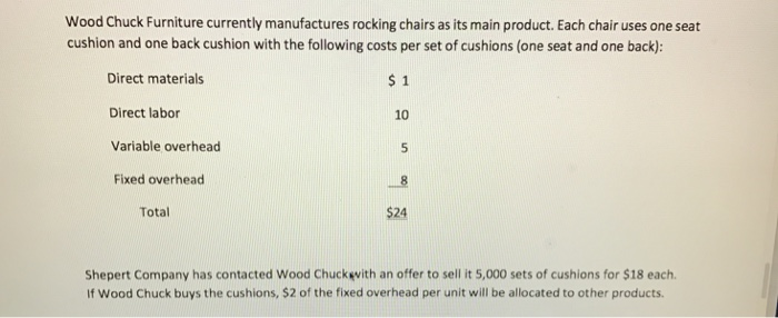 Solved: Wood Chuck Furniture Currently Manufactures Rockin ...