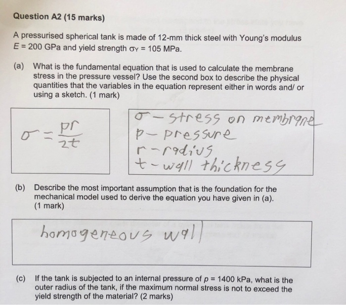 Solved: Question A2 (15 Marks) A Pressurised Spherical Tan