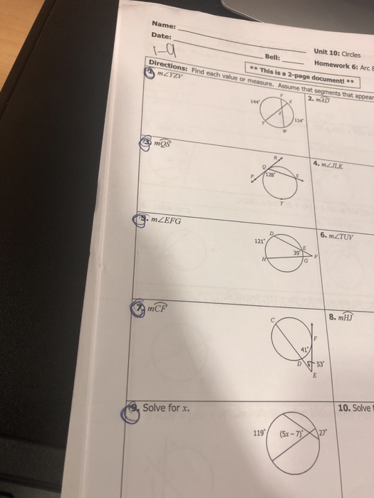 Solved: Name: Unit 10: Circles Homework 6: Arc & Date: 1-0 ...