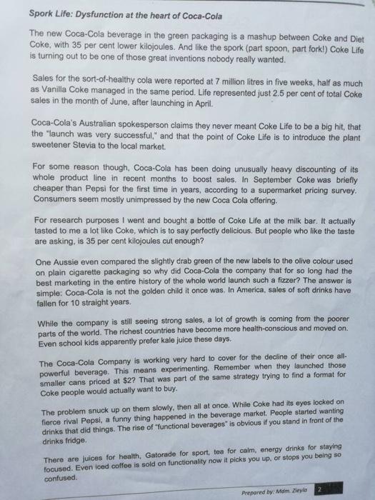 coca cola case study answers