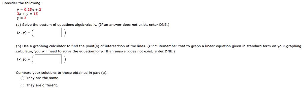 Solved: Consider The Following Y#0 25x + 2 3x+y-15 Y=3 (a