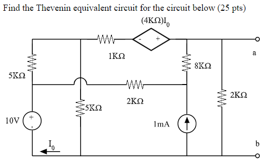 Find the Thevenin equivalent circuit for the circuit below (25 pts) (4ΚΩ)10 ΙΚΩ 5KS2 2ΚΩ 5KS2 10V 1 mA In