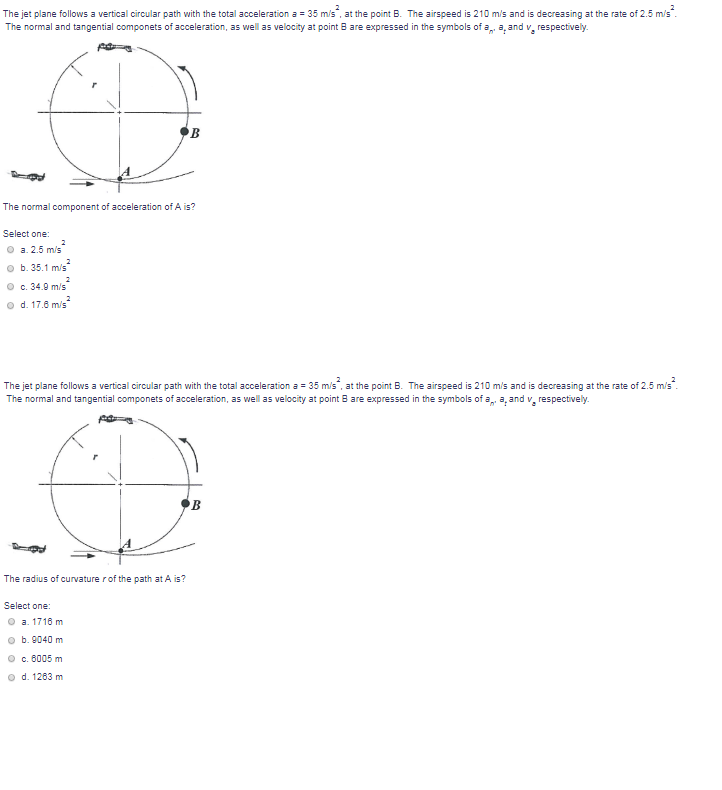Solved The Jet Plane Follows A Vertical Circular Path Wit