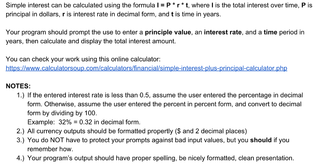 solved simple interest can be calculated using the formul