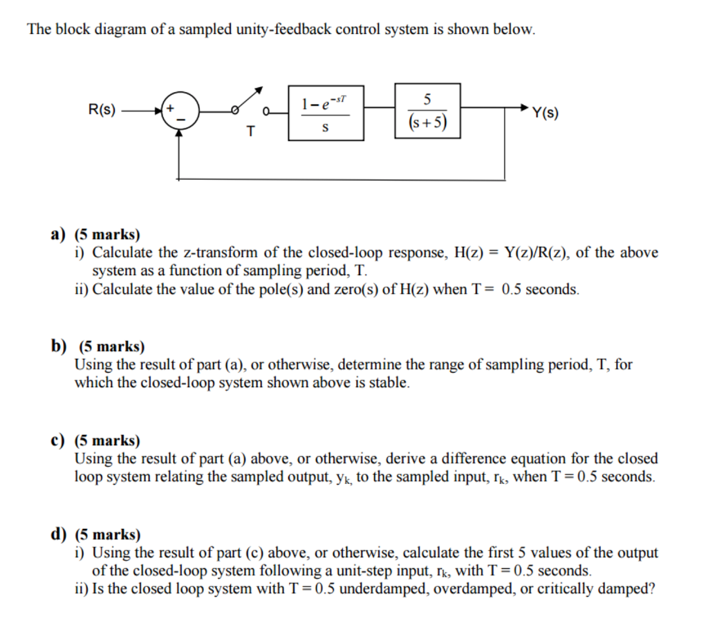 The block diagram of a sampled unity-feedback control system is shown  below. -