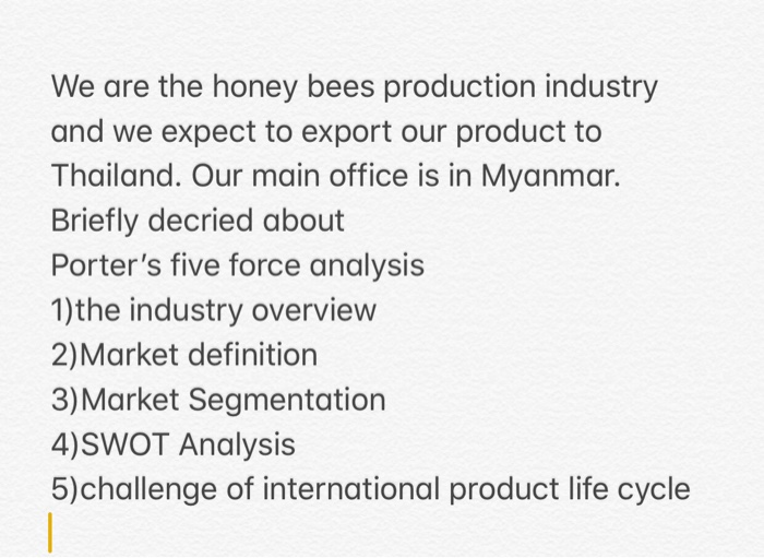 Exceptional Question: We Are The Honey Bees Production Industry And We Expect To Export  Our Product To Thailand. Our Ma.