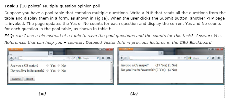 Task 1 [10 Points] Multiple-question Opinion Poll